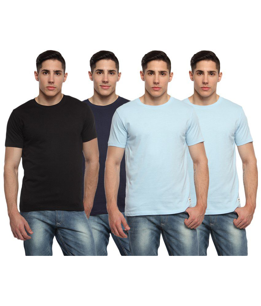 Adro Pack of 4 Blue & Black Round Neck T Shirts
