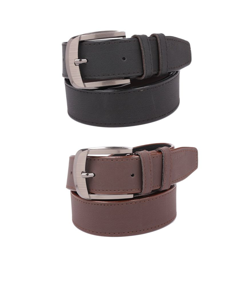 CALIBRO Men's Matte Black & Matte Brown stylish Belt (Pack Of 2)