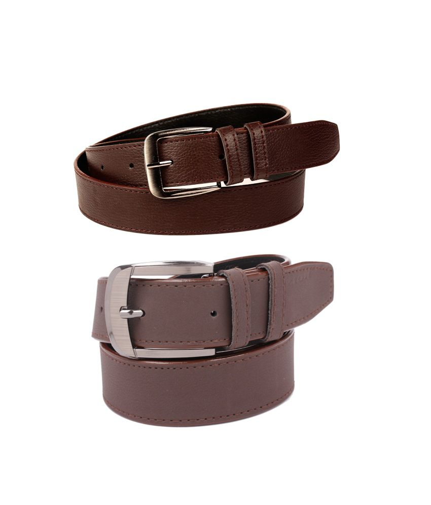 CALIBRO Men's Brazil brown & Matte Brown stylish Belt (Pack Of 2)