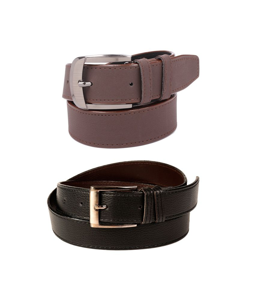 CALIBRO Men's Brazil black & Matte Brown stylish Belt (Pack Of 2)