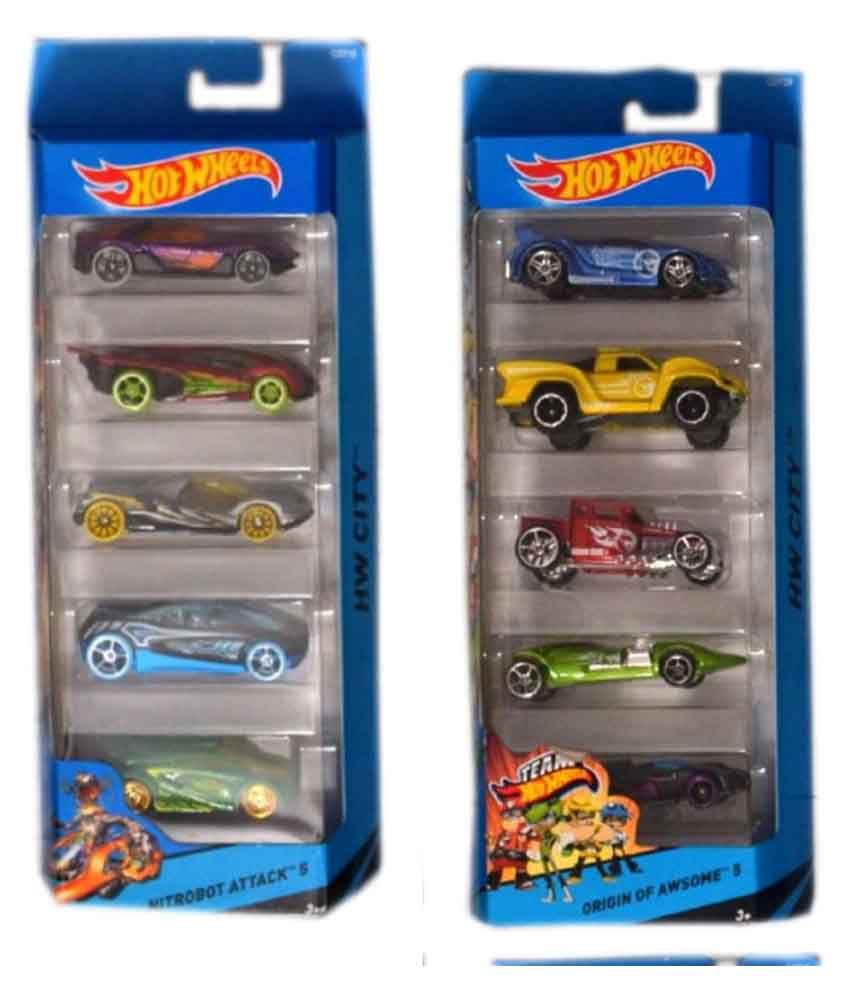 Hot Wheels Multicolour Metal Car Gift Pack Of 5