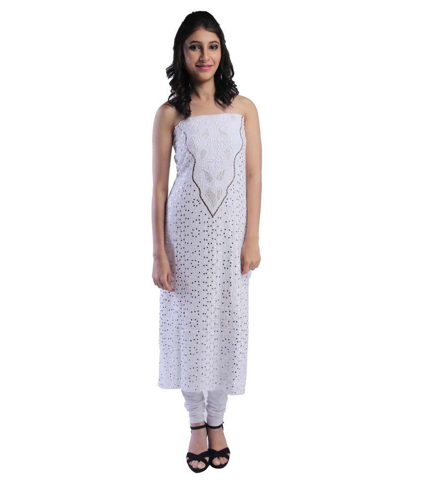 Tuklush Nawab White Cotton Unstitched Dress Material