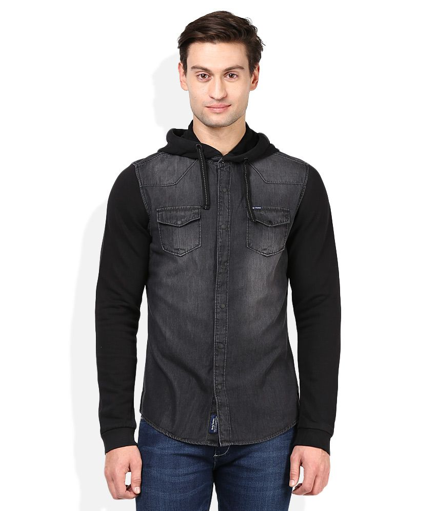 47cabe4d017fc Being Human Black Solids Slim Fit Hooded Shirt - Buy Being Human Black  Solids Slim Fit Hooded Shirt Online at Best Prices in India on Snapdeal