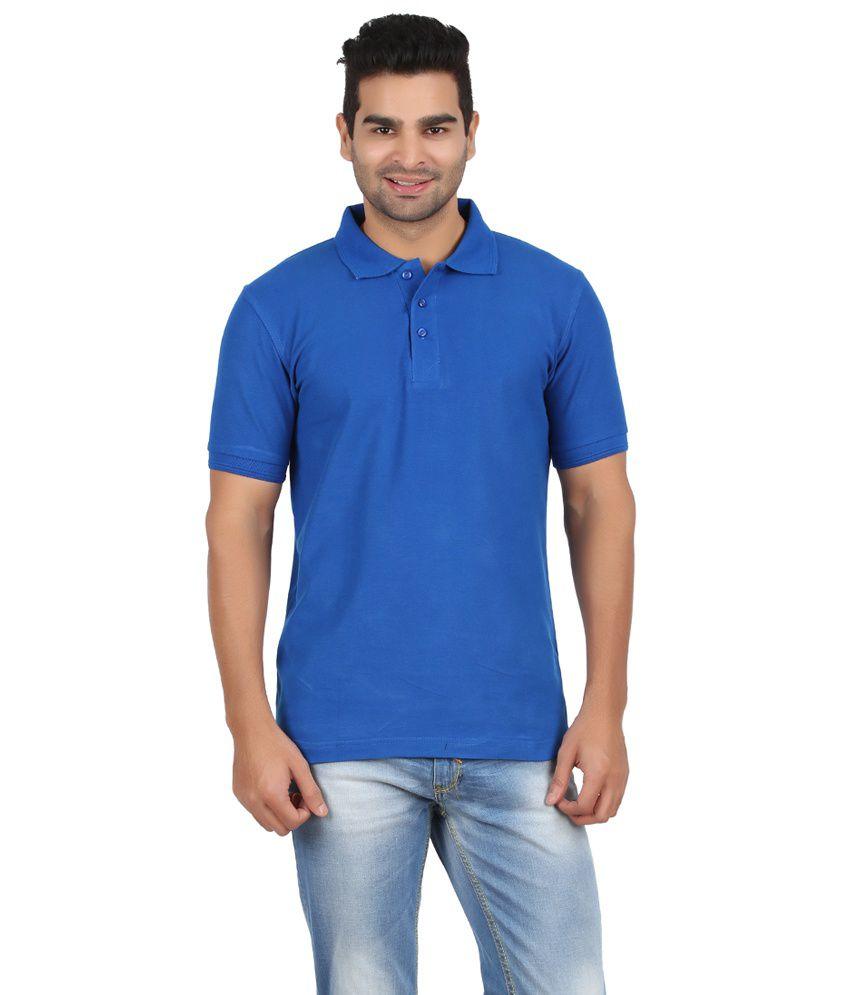 Evangeline Blue Cotton Polo T Shirt
