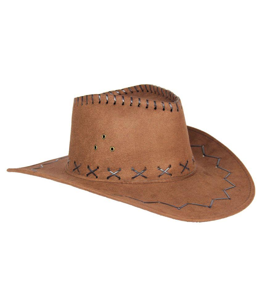 Fabseasons Tan Polyester Cow Boy Hat