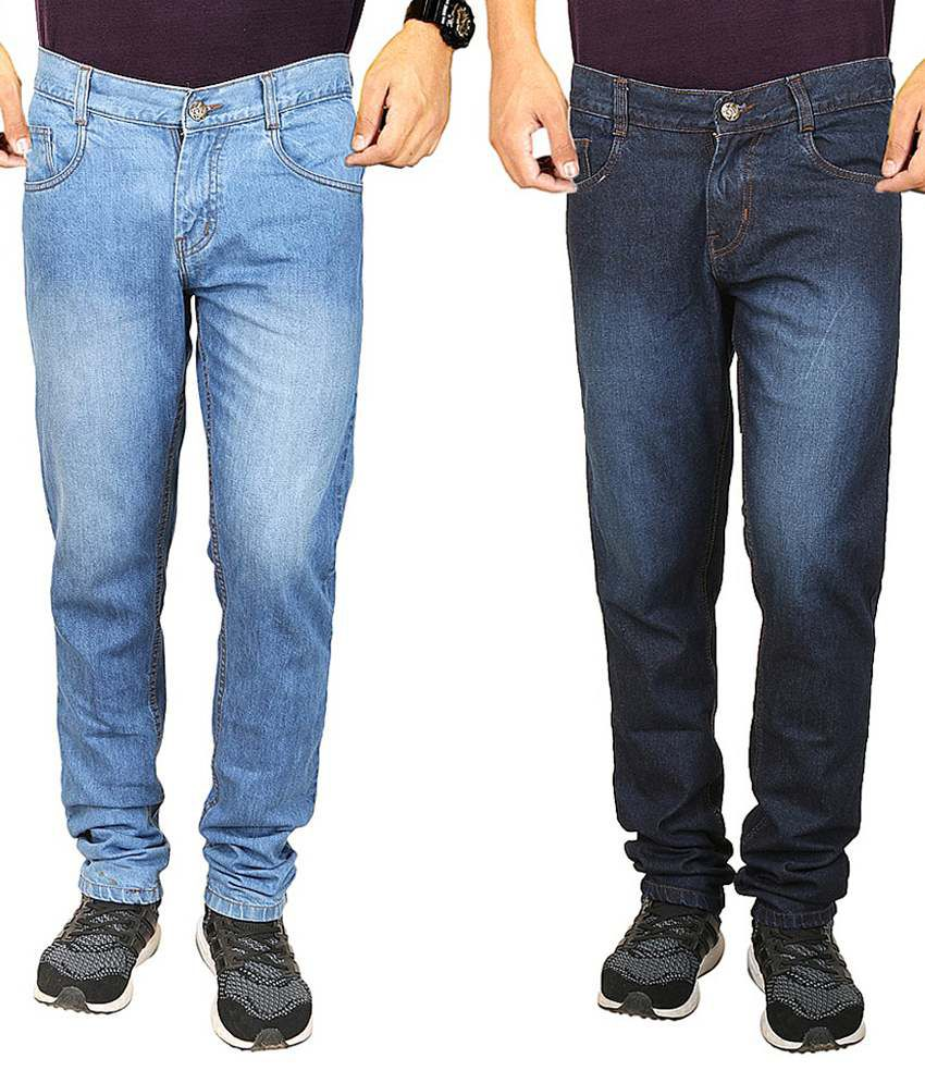 Masterly Weft Blue Regular Fit Jeans Pack Of 2