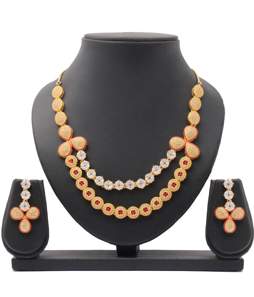 Party Queen Maroon Alloy Bridal Necklace Set
