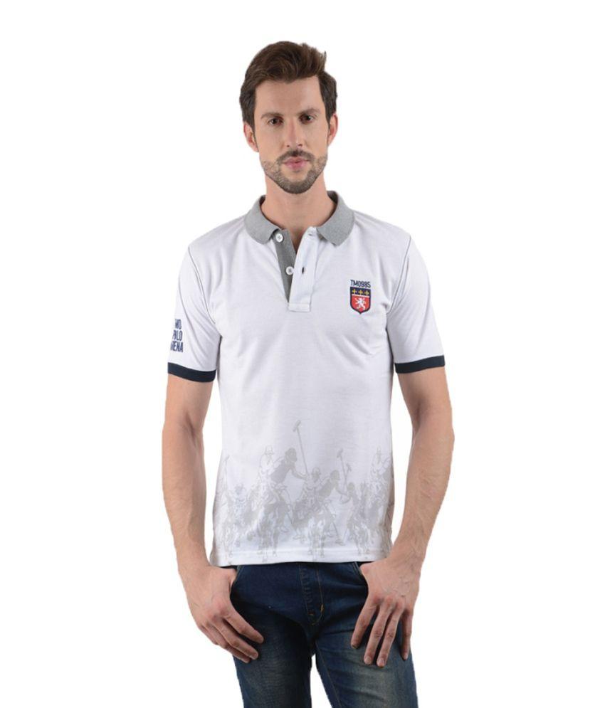 Tmo White Half Printed Polo T-shirt