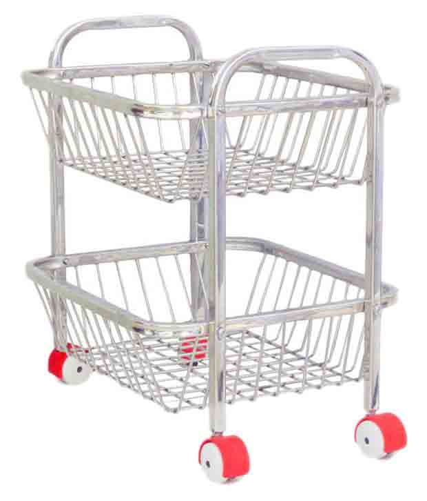 VPSK Silver 2 Stand Fruit Vegetable Trolley Basket For Kitchen