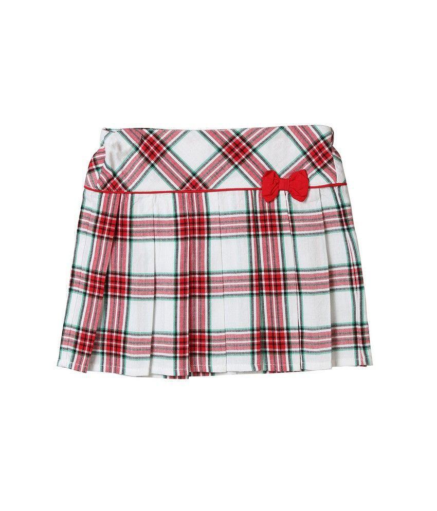 Beebay Red & White Cotton Skirt for Girls
