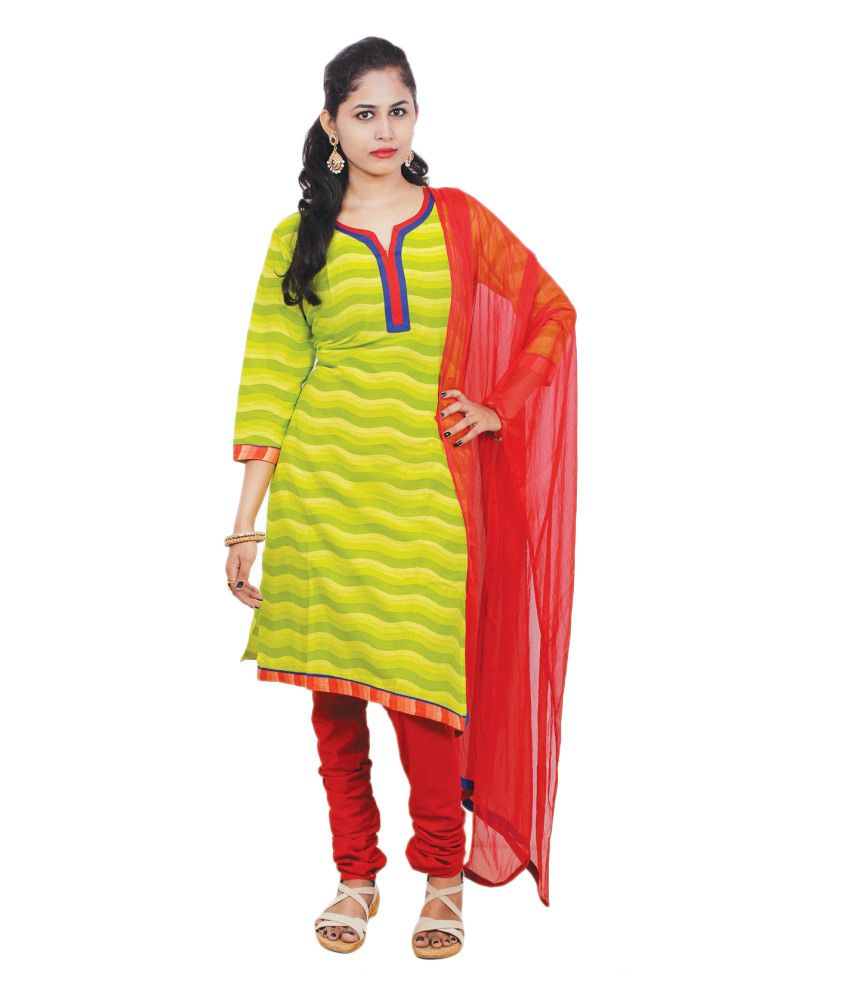 Ginni 6 Green Cotton Stitched Suit