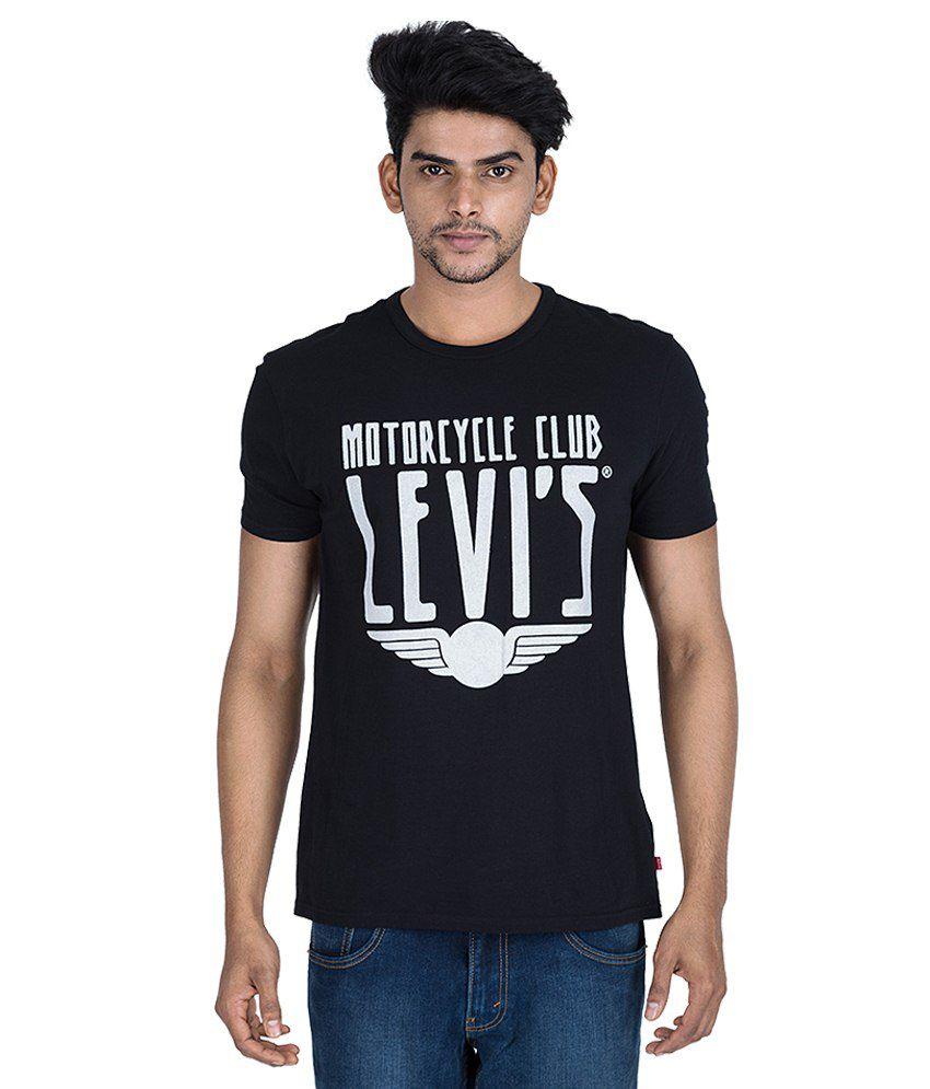 Levi'S Black Printed Round Neck T Shirt