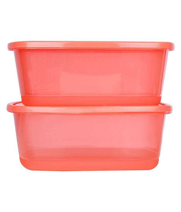 ratan plastics silver plastic container set of 26 pcs red