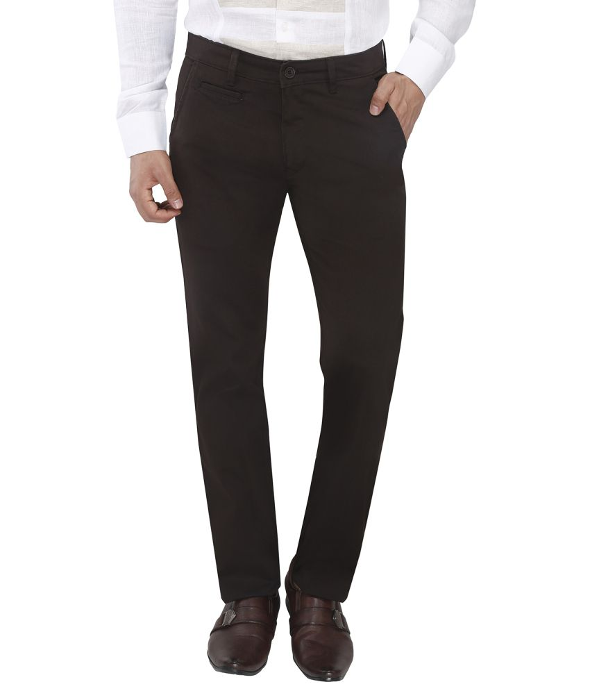 Live In Black Slim Fit Formal Flat Trousers