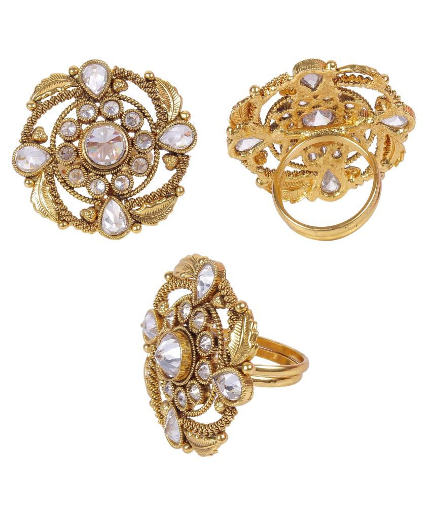 Much More Beautiful Bollywood Fashion Gold Plated Crystal Made Polki Fingers Ring Jewelry Partiwear For Women