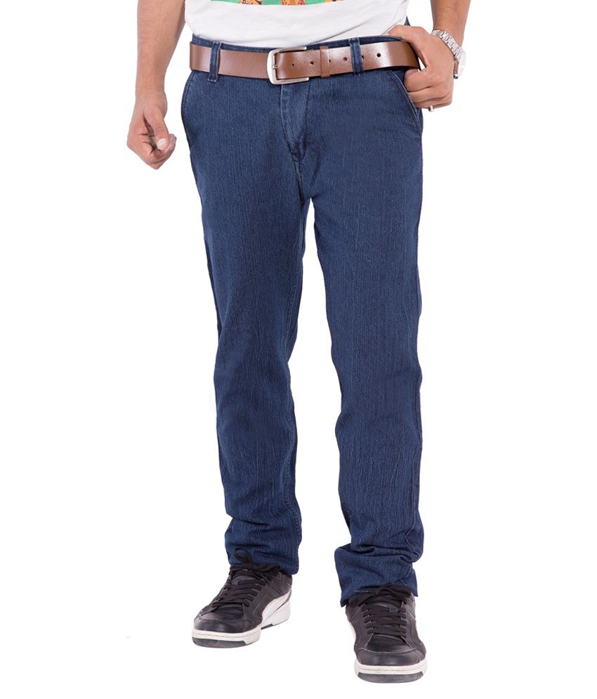 New Valley Navy Blue Cotton Regular Fit Jeans
