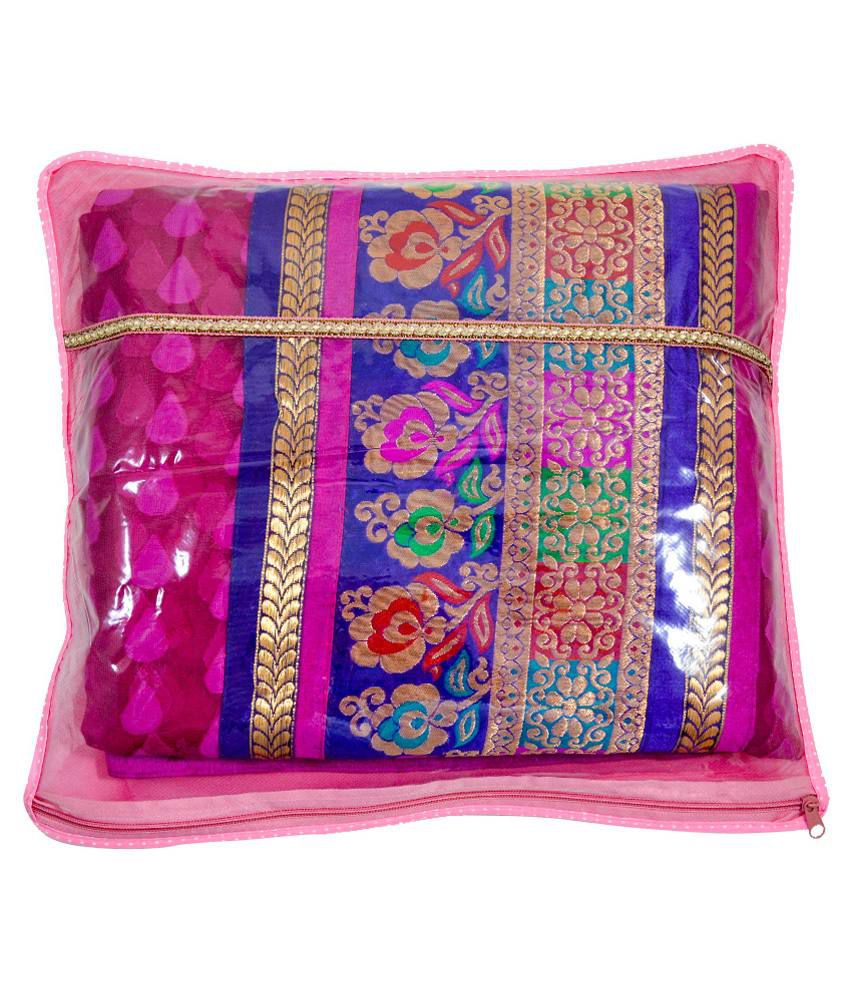 Onymony Pink Plastic Saree Cover - Pack Of 12