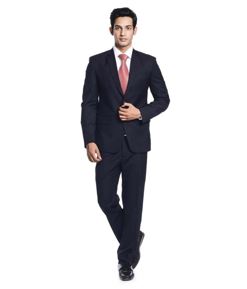 Pundir Trading Black Cotton Blend Formal Wear Suit