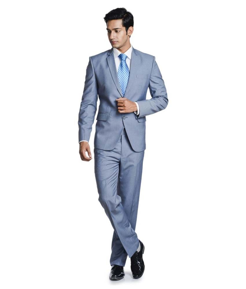 Pundir Trading Grey Cotton Blend Formal Wear Suit