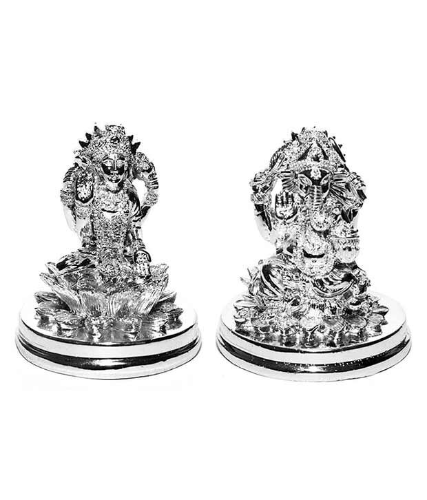 Y-O-U Silver Platted God Idol Laxmi and Ganesh Ji