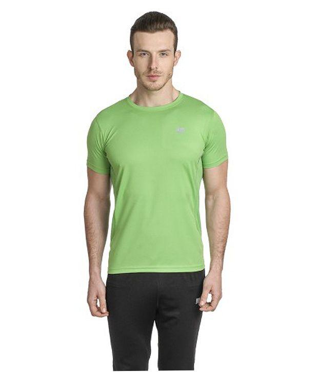 T10 Sports Green Reflective Micro Fiber Crew Neck T-Shirt