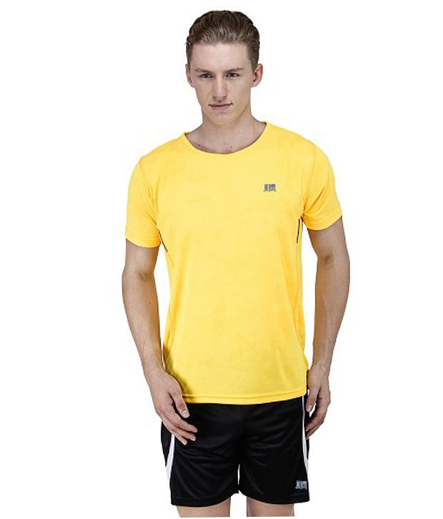T10 Sports Yellow Polyester T-Shirt