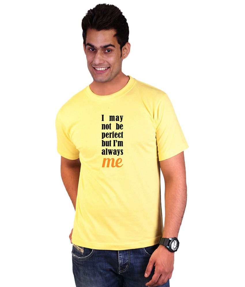 Wicked Bite Design Yellow & Black Round Neck Printed T Shirt