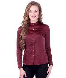 SASSAFRAS Maroon Satin Shirt