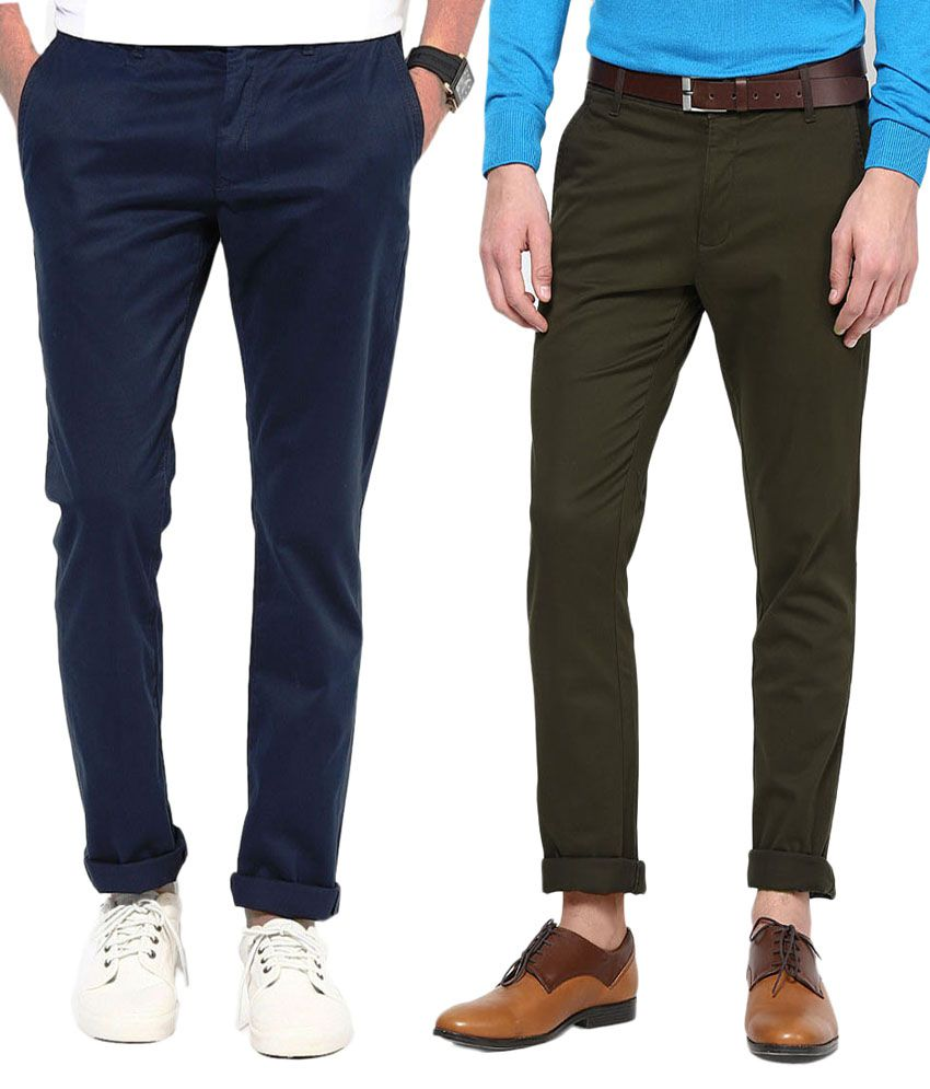 AD & AV Multicolor Cotton Regular Fit Casual Chinos - Combo of 2