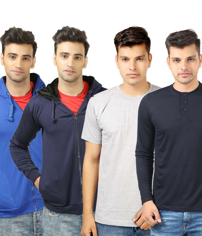 Etoffe Multicolor Cotton Blend Sweatshirt, Round Neck And Henley T-Shirts - Pack Of 4