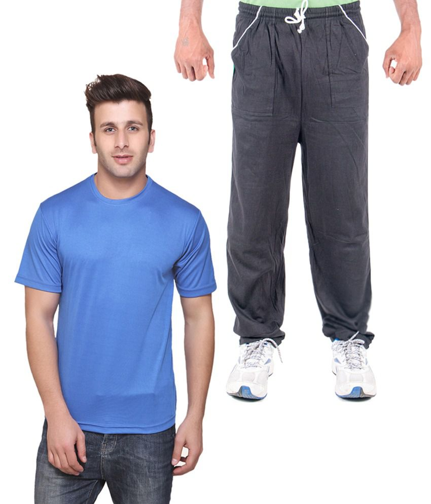 Funky Guys Blue Cotton Round Neck T Shirt And Trackpant