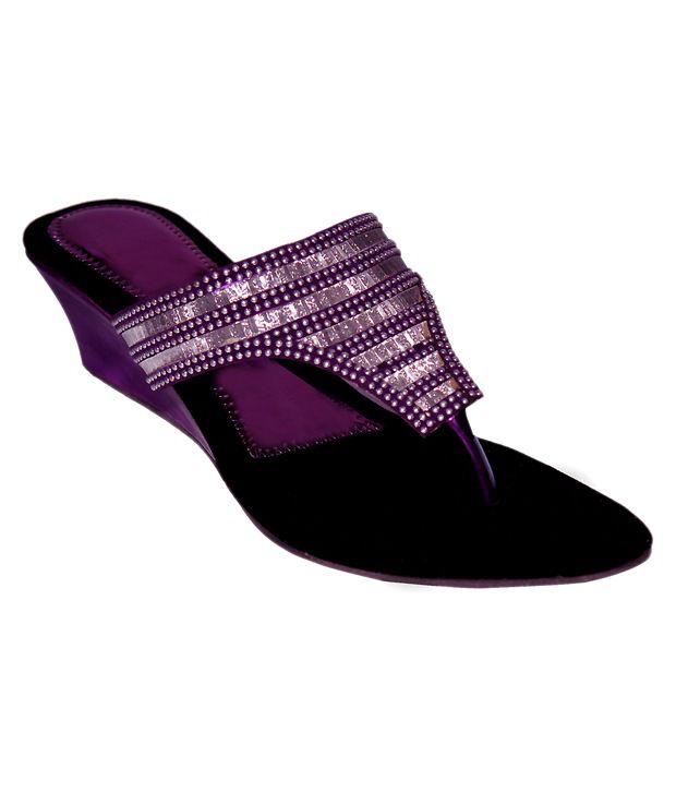 Shri Ram Footwear Purple Wedges Heeled Slip Ons