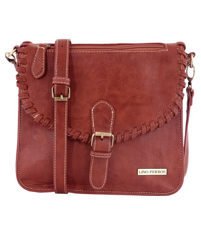 Lino Perros Brown P.U. Casual Ladies Sling Bag