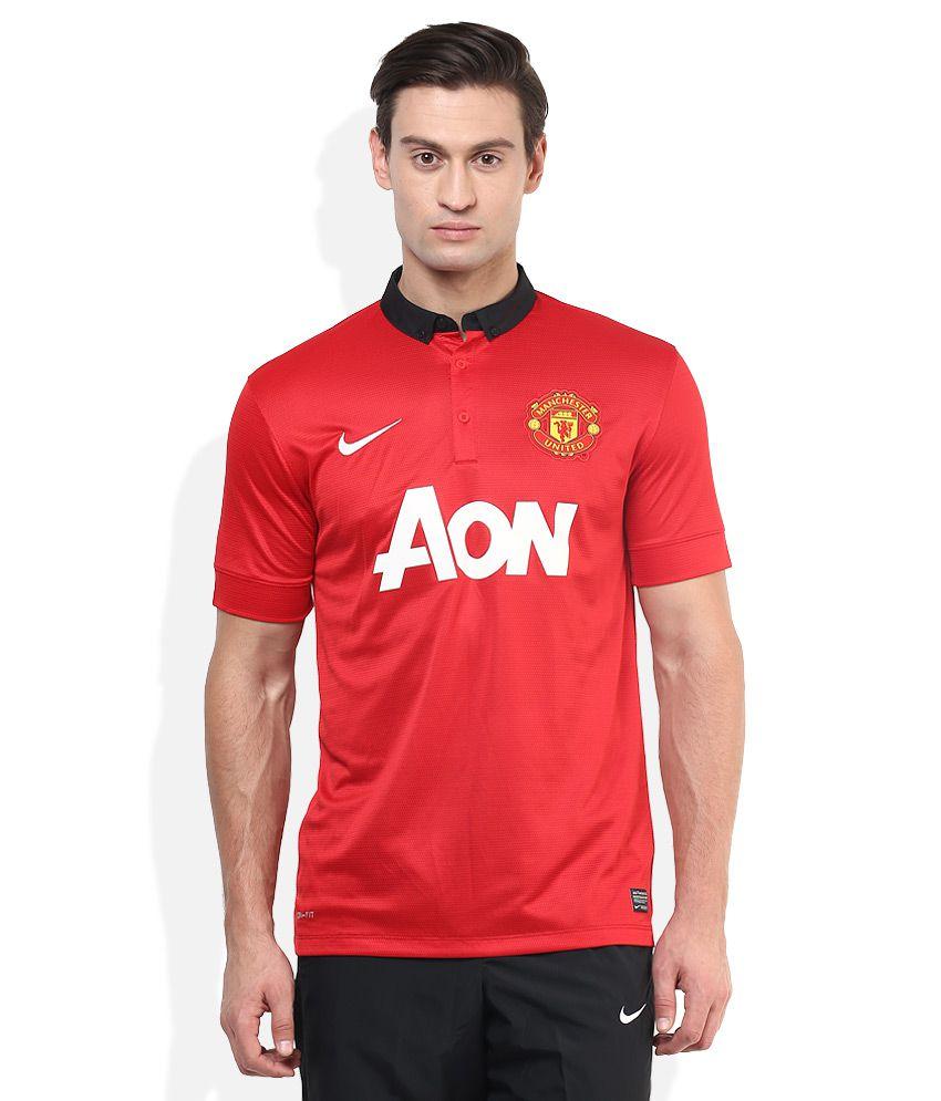 Nike Red Half Sleeves Printed Polo T-Shirt
