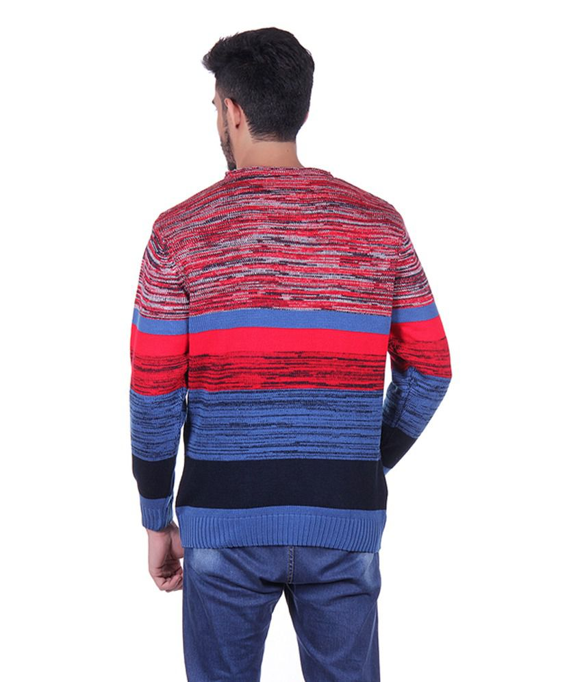 Sportking Red & Blue Acrylic Striped Sweater - Buy Sportking Red ...
