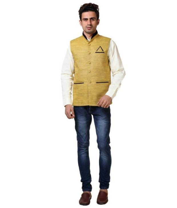 b814f944b127 Vlive Golden Half Khadi Nehru Jackets - Buy Vlive Golden Half Khadi Nehru  Jackets Online at Low Price in India - Snapdeal