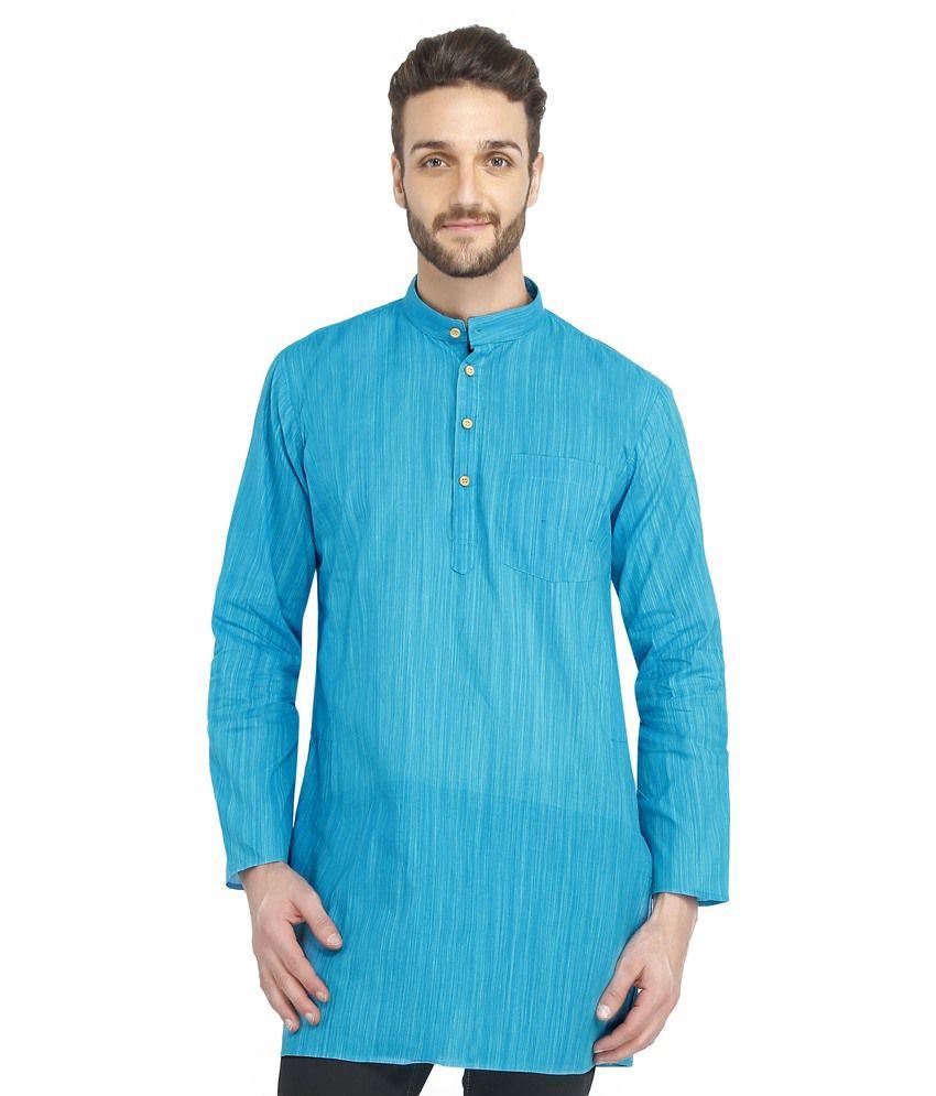 Bhartiya Paridhan Blue Festive Cotton Medium Kurta
