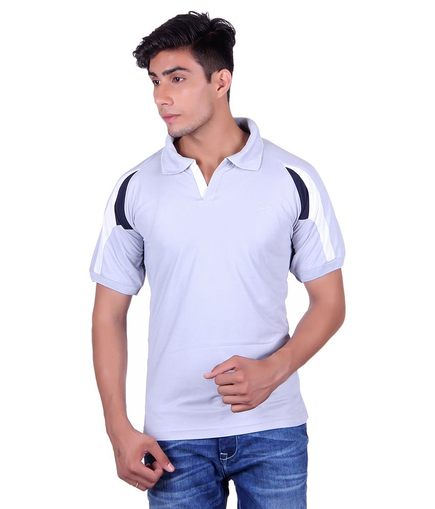 EX10 Grey Polyester Polo T Shirt