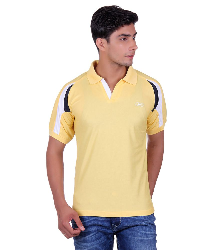 EX10 Yellow Polyester Polo T Shirt