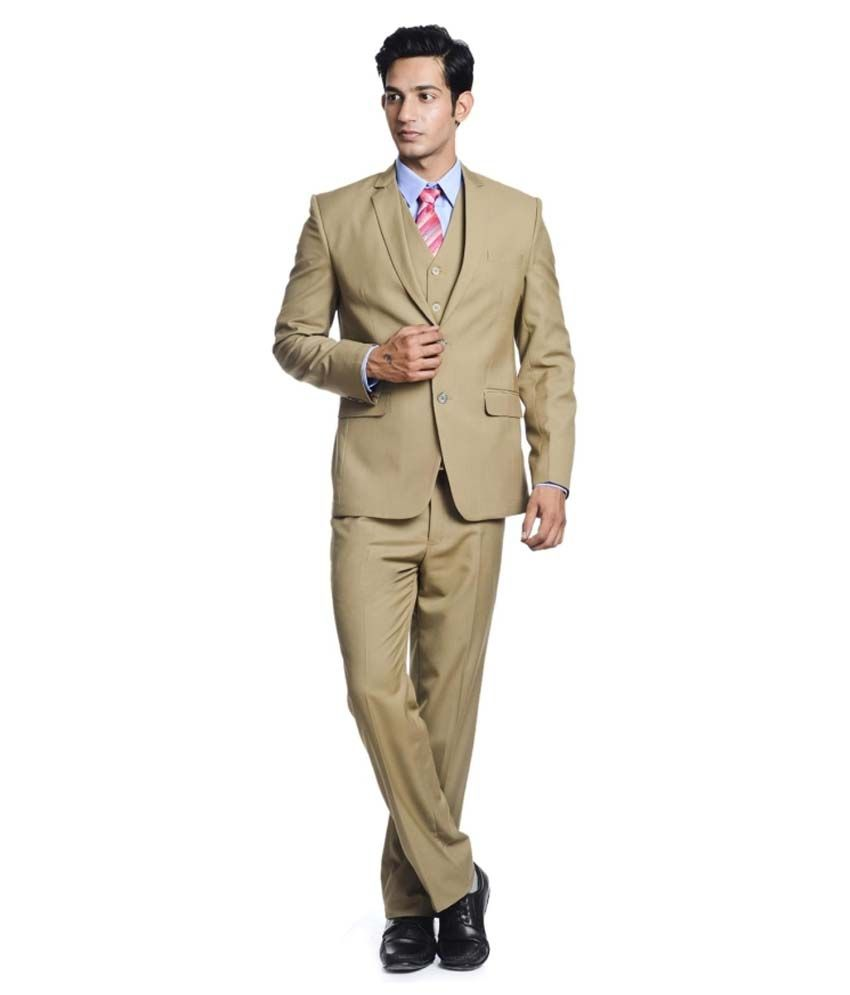 Pundir Trading Beige Cotton Blend Formal Wear Suit