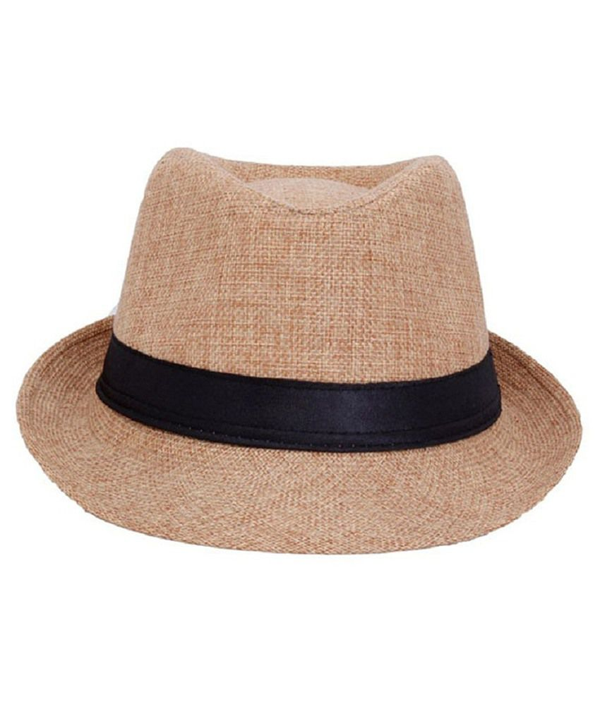 Rajputana Brothers Beige Cotton Mix Polyester Fedora Hat For Men