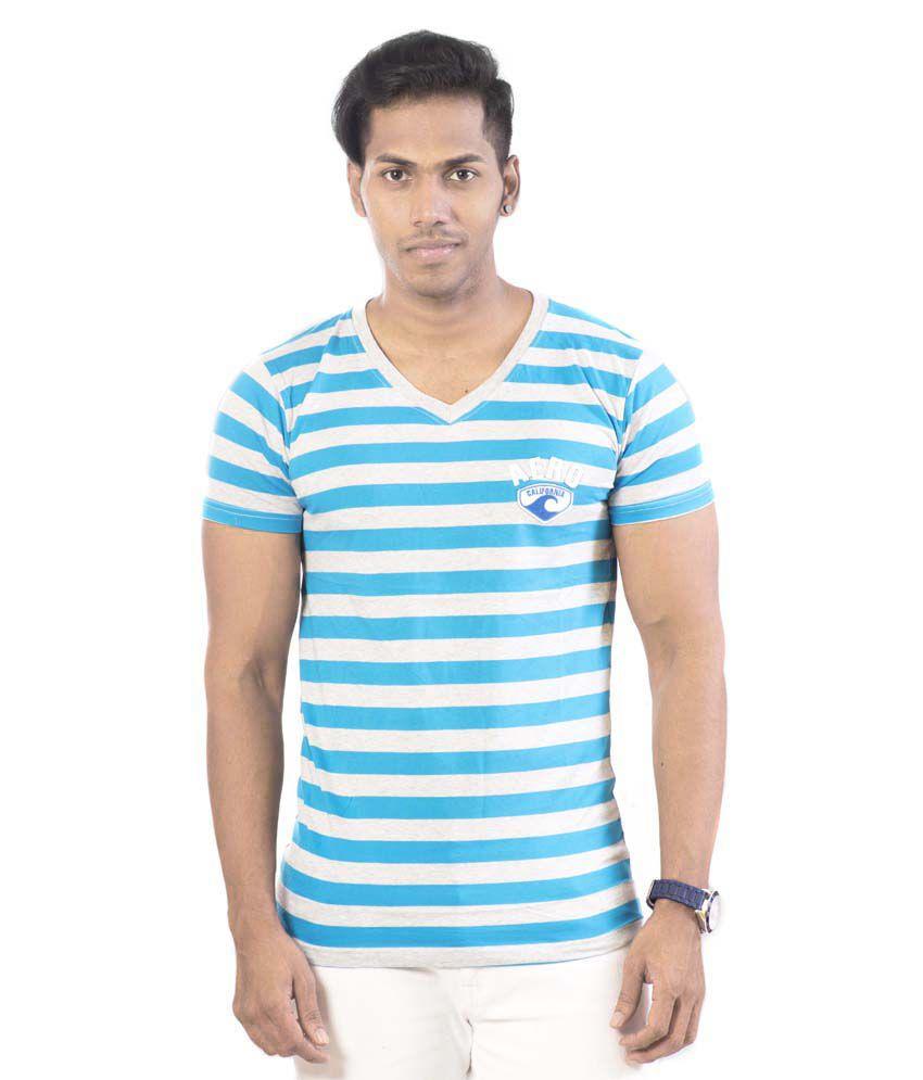 Well On Blue Cotton Blend T-shirt