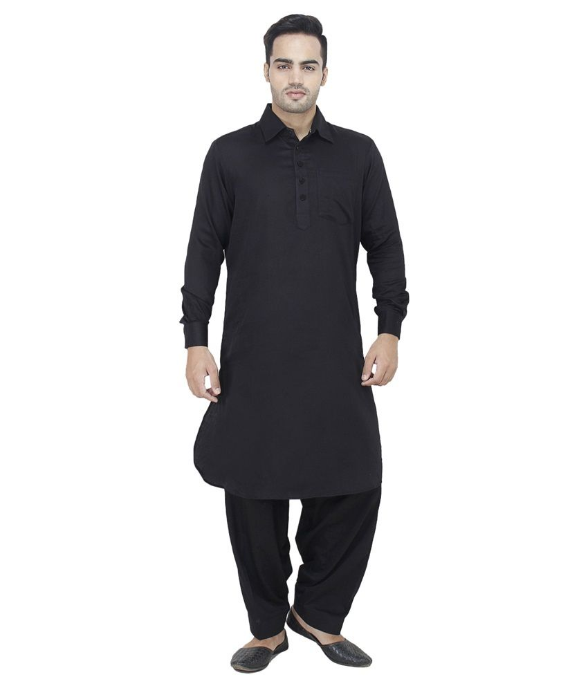 37dcf1c926 Arzaan Creation's Black cotton Pathani Suit For Men - Buy Arzaan Creation's  Black cotton Pathani Suit For Men Online at Low Price in India - Snapdeal