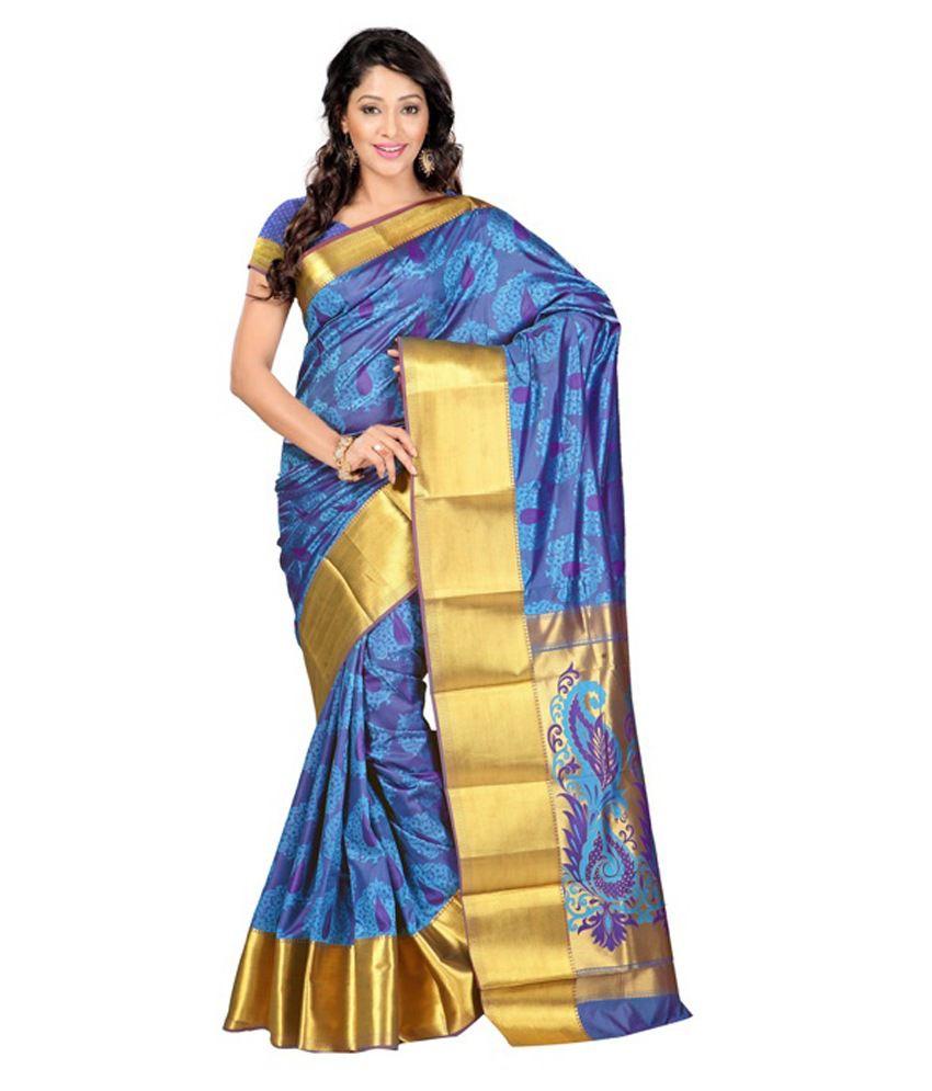 Fabdeal Blue Art Silk Saree