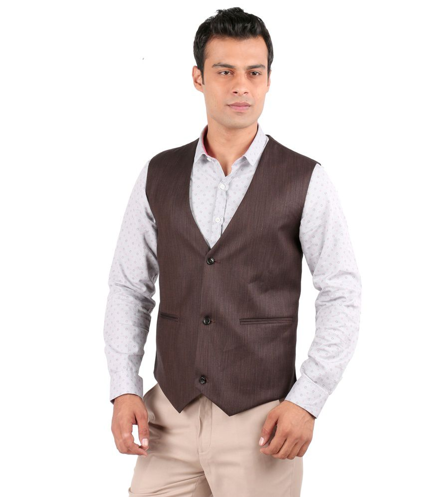 Jhampstead Brown Rayon Waistcoat