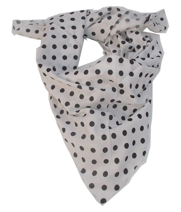 Lotusa White Polyester Casual Printed Scarves