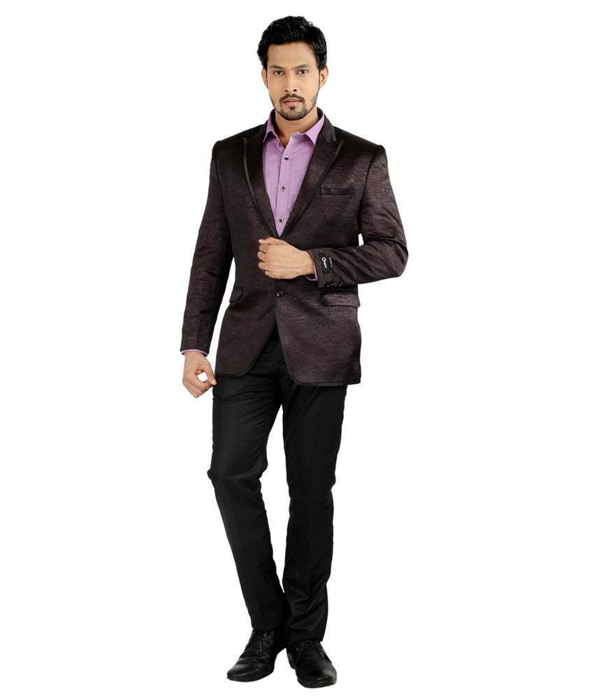 Oxemberg Maroon Polyester Suit
