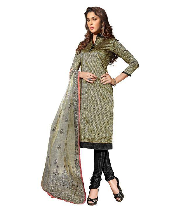 Prafful Beige Silk Straight Unstitched Dress Material