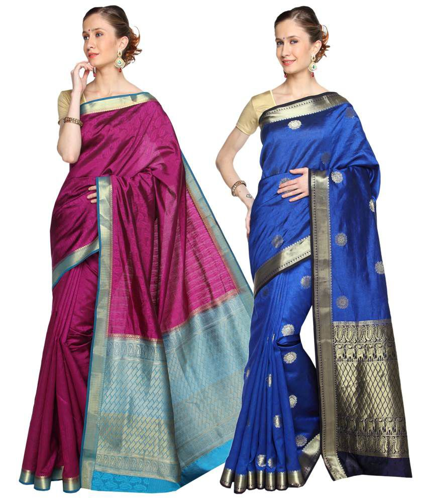 Reet Pack of 2 Blue & Pink Plain Cotton Sarees with Blouse Pieces