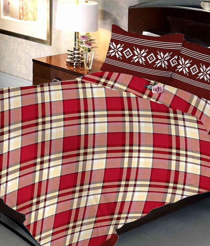 Uber Urban Multicolour Cotton Double Bedsheet With 2 Pillow Cover